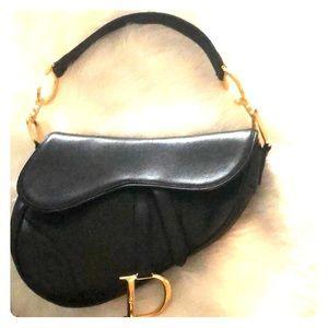 Christian Dior black leather saddle bag purse